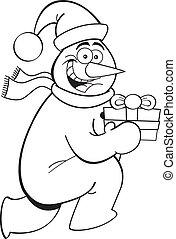 Cartoon running snowman with a gift