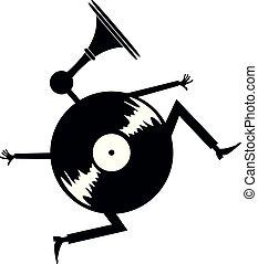 Cartoon running vinyl illustration