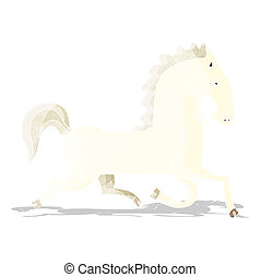 cartoon running white stallion
