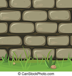 Illustration of a cartoon rural stone wall background with bricks of rock, grass leaves and lawn