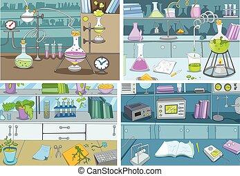 cartoon, sæt, i, baggrunde, -, kemisk, laboratory.