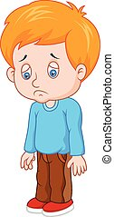 Cartoon sad boy  - Vector illustration of Cartoon sad boy