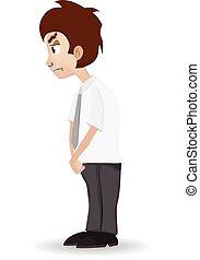 cartoon sad businessman bow his head isolated