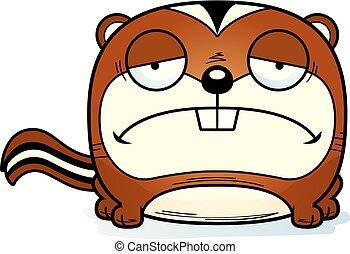Cartoon Sad Chipmunk - A cartoon illustration of a chipmunk...