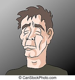 Cartoon Sad Depressed Man