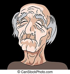 Cartoon Sad Depressed Old Man