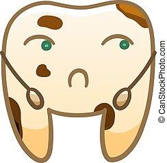 Cartoon sad dirty tooth for International Dentist Day