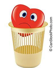 cartoon sad heart in the paper basket