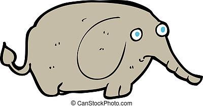 cartoon sad little elephant