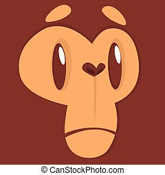 Cartoon sad monkey face expression