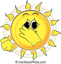 Cartoon sad sun holding his nose because of a bad smell.