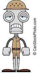 Cartoon Sad Zookeeper Robot - A cartoon zookeeper robot...