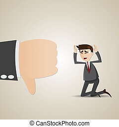 cartoon sadness businessman with thumb down - illustration...