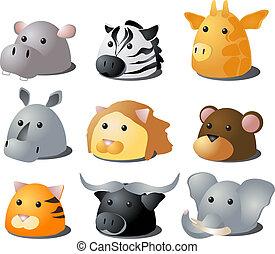 Cartoon safari animals - Cartoon illustration of African...