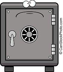 Cartoon Safe Sad - Cartoon illustration of a safe with a sad...