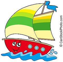 Cartoon sailboat on white background - isolated illustration.