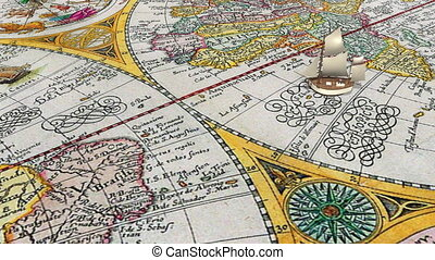 Small cartoon sailing ship moves from southern hemisphere to northern, crossing the equator, on the ancient world map background. Dolly shot. Decorative 3D animation.