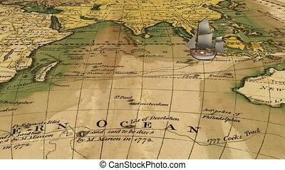 Cartoon sailing ship on ancient map - Cartoon old sailing...