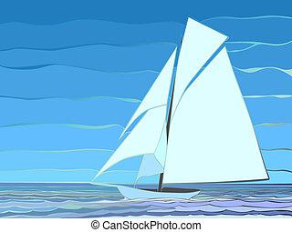 Cartoon sailing yacht.