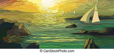 Cartoon sailing yacht in sunset.