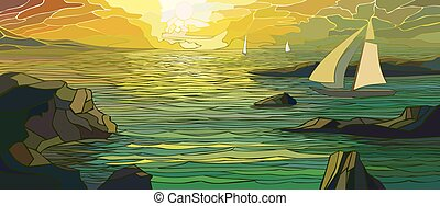 Cartoon sailing yacht in sunset.