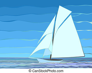 Cartoon sailing yacht.