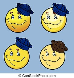 Cartoon Sailor Smiley Set