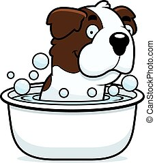 Cartoon Saint Bernard Bath - A cartoon illustration of a...