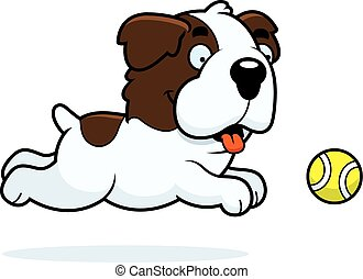 Cartoon Saint Bernard Chasing Ball - A cartoon illustration ...
