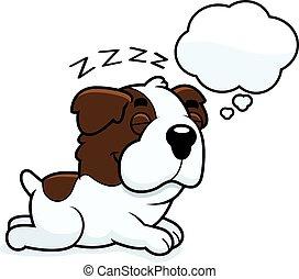 Cartoon Saint Bernard Dreaming - A cartoon illustration of a...