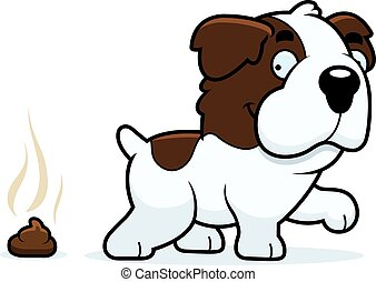 Cartoon Saint Bernard Poop - A cartoon illustration of a...