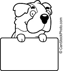 Cartoon Saint Bernard Sign - A cartoon illustration of a...