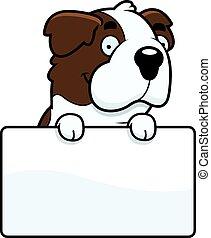 Cartoon Saint Bernard Sign - A cartoon illustration of a...