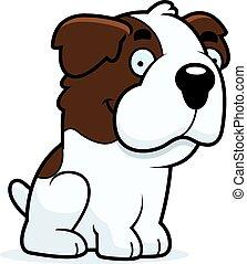 Cartoon Saint Bernard Sitting - A cartoon illustration of a...