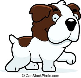 Cartoon Saint Bernard Walking - A cartoon illustration of a...