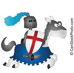 Cartoon Saint George riding on his horse