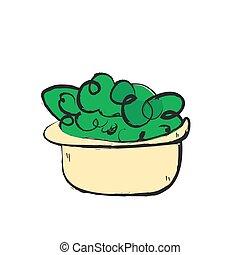 cartoon salad, vector icon