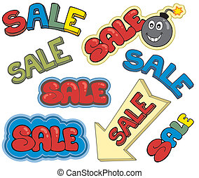 Cartoon sale signs