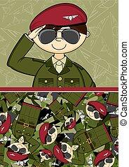 Cartoon Saluting Soldier
