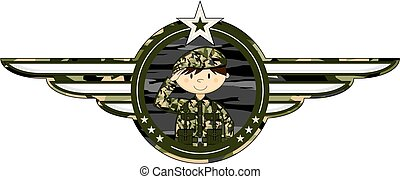 Cartoon Saluting Soldier