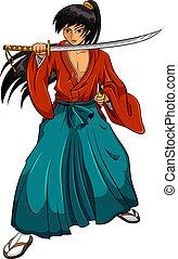 cartoon samurai - cartoon manga style samurai isolated on...