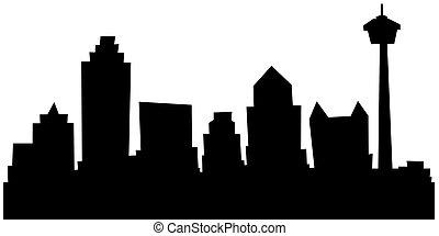 Cartoon skyline silhouette of San Antonio, Texas, USA.