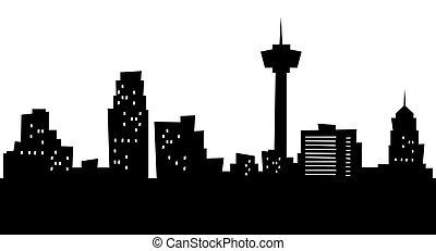 Cartoon San Antonio - Cartoon skyline silhouette of the city...