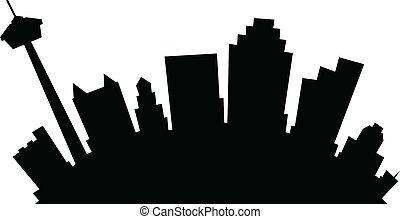 Cartoon skyline silhouette of the city of San Antonio, Texas, USA.