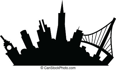Cartoon San Francisco - Cartoon skyline silhouette of the...