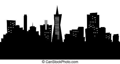 Cartoon San Francisco - Cartoon skyline silhouette of the...
