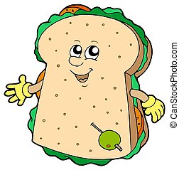 Cartoon sandwich on white background - isolated illustration...