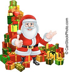 Cartoon Santa and Gifts