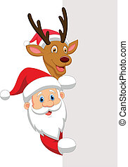 Cartoon Santa and red nose reindeer - Vector illustration of...