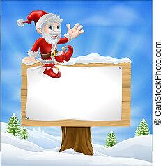 Cartoon Santa Christmas Sign